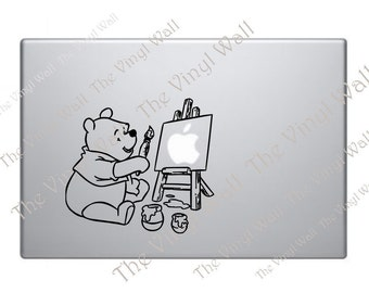 Winnie the Pooh Painting On His Easel Vinyl Decal Sticker for computer wall car and more