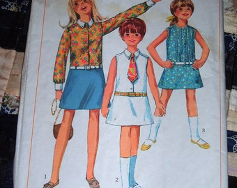 1967 Simplicity Pattern 7111 Girl's One Piece Dress and Tie Size 12