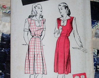 """Vintage 1940s Butterick Pattern 2902 for Women's Jumper Frock and Blouse, Size 16, Bust 34"""", Waist 28"""", Hip 37"""""""