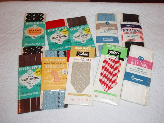 Reserved for Mecca13 10 Packages Vintage Trim Rick Rack Bias Tape Colors Unused
