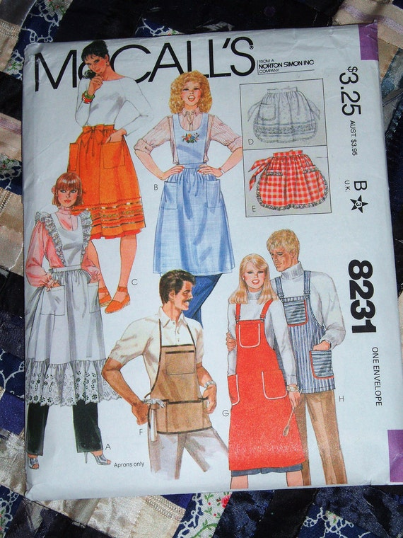Vintage 1982 McCalls Pattern 8231 for Women's and Mens Aprons Uncut One Size