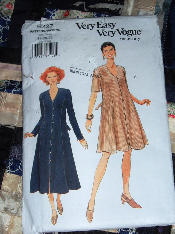 1995 Vogue Pattern 9227 For Women's Maternity Dress Uncut