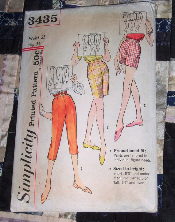 """1950s Simplicity Pattern 3435 Women's Pedal Pushers, Jamaica Shorts Pattern Size Waist 25"""" and Hip 34"""""""