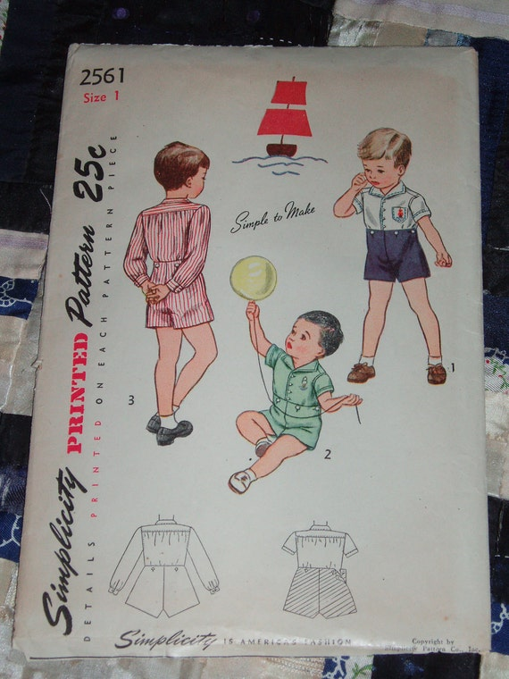 "Vintage 1946 Cute Simplicity Pattern 2561 for Boy's or Toddlers Blouse and Shorts  Size 1, Chest 20"", Waist 19 1/2"""