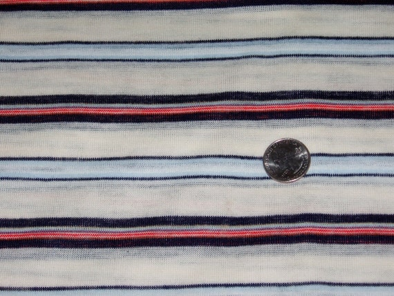 """Vintage Striped Cotton Stretch Knit Fabric Tube Style 30 3/4"""" x 72"""" or 2 Yards"""