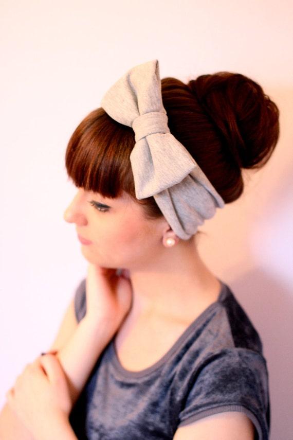 Grey Bow Head Wrap