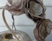 Beautful handmade flower bloom headband for bridal, formal, prom, wedding evening in champagne and chocolate tones