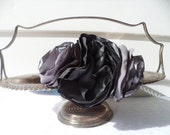 Slate and silver silk handcrafted rose headband- the flower pot- for bridesmaid, wedding, day, prom, date and evening