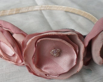Poppy headband- handmade silk and chiffon blooms in poppy pink with crema coloured glass seed beads