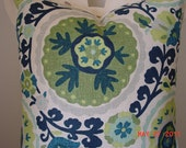 NEW Decorative Pillow Cover,   Cream, , Green, Blue  Suzani  Fabric  20 x 20  Patttern Front and Back  Throw Pillow   Cushion