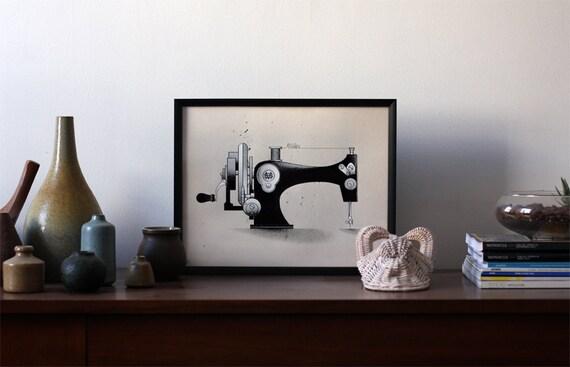 Maker Series - Singer Sewing Machine - 12x16 - Screenprint