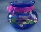 Hand Painted Cobalt Blue Vase with Pink Roses