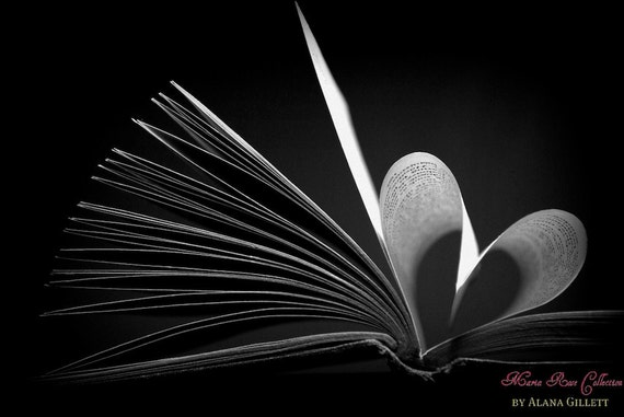 Hamlet Heart- Fine Art Photography print 5x7 by Alana Gillett-Black White Moody Romantic Book Pages Shakespeare