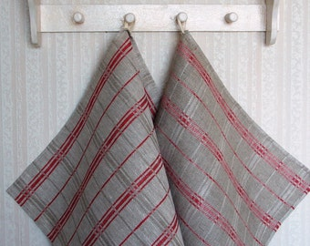 Linen towel set -Old Cottage Red- kitchen towels, hand, guest towels, natural linen, Eco-friendly,