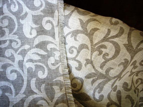 Linen blanket -Leaves- linen throw,