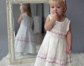 Girl linen dress -  White Linen girl dress with pink lace -  Linen dress for girls 0.5 - 5 years sizes - White pink baby girl dress