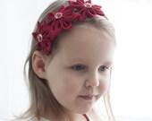 Girl red headband -  kanzashi flower headband - Girl hair accessories