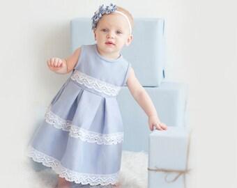 Blue girl dress -  Flower girl dress - Linen flower girl dress - baby girl dress - Infant linen dress - Beach wedding girl dress