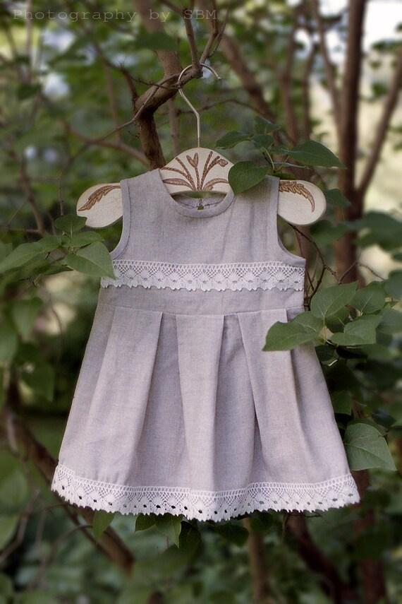 Linen flower girl dress - Linen girl dress - Summer toddler girl dress - Rustic flower girl dress - Gray girl dress - Linen toddler dress