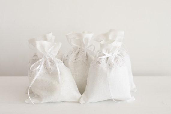 White gift bags - Linen wedding  gift bag - White Linen gift bags set 5 - Wedding favor gift bags