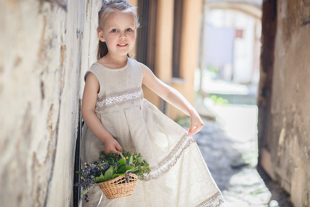 Country flower girl dress Rustic flower girl dress by PetitDeLin