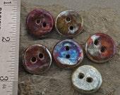 6 Raku Buttons Handmade in Raku