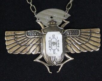 Handmade Egyptian Watch Bug Pendant Necklace Steampunk Egyptian Revival
