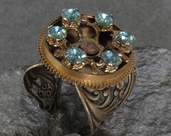 Steampunk Rhinestone Ring