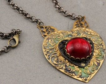 Heart Necklace in Brass and Czech Glass