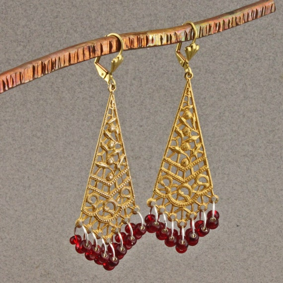 Red and Gold Dangle Earrings