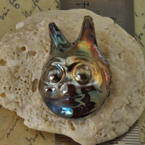 Handmade Raku Cat Head Cabochon Small Size