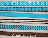 12 Yds WHOLESALE 3/8 Inch DIY Turquoise-Brown Korkers grosgrain ribbon Low Shipping Cost