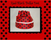 10 Yds WHOLESALE 1.5 Inch Red-Black Jumbo Polka Dots grosgrain ribbon LOW SHIPPING Cost