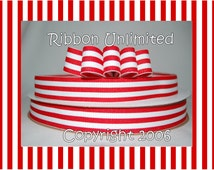 """10 Yds WHOLESALE 7/8"""" Inch Red TAFFY Stripes grosgrain ribbon LOW Shipping Cost"""