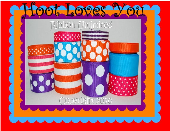 24 Yds HOOT LOVES YOU wholesale grosgrain ribbon collection   Low Shipping Cost