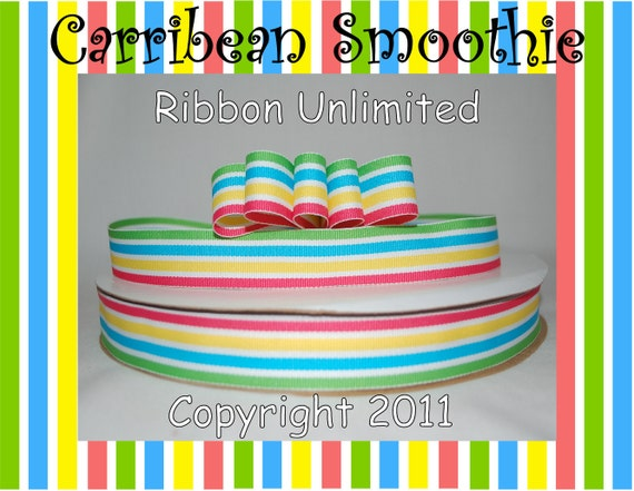 """10 Yds WHOLESALE 7/8"""" Inch Fruitpunch Preppy Stripes grosgrain ribbon LOW Shipping Cost"""