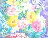 Flowers and Lace Watercolor Pastel Feminine Colors -  Martha Kisling Original Art