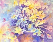 Impressionistic Watercolor of Spring Daisies in Pastel Bouquet by Colorado Artist Martha Kisling