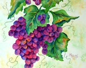 SALE - Watercolor of Grapes Country Stencil - Original Painting Martha Kisling