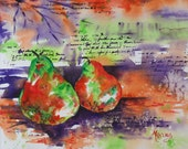 Abstract Watercolor Pears Orange, Purple, Lime Green - Original Painting Martha Kisling