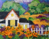 Paper Painting Collage Quaint Cottage Picket Fence Country - Original Martha Kisling Painting