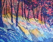 Watercolor Batik of Snow and Trees - Colorado Artist Martha Kisling