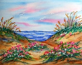 Watercolor and Pastel Painting of Beach Seascape with Flowers and Seagulls by Artist Martha Kisling