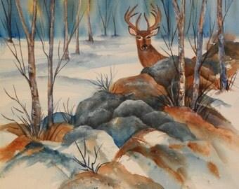 SALE - Watercolor Painting of Deer Behind Rocks and Trees - Original Art