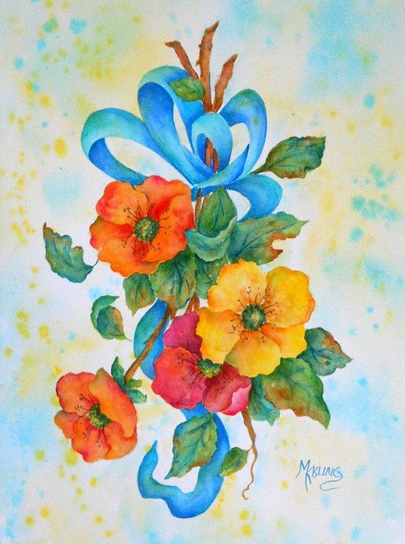 SALE - Watercolor of Wild Roses and Ribbons by Colorado Artist Martha Kisling