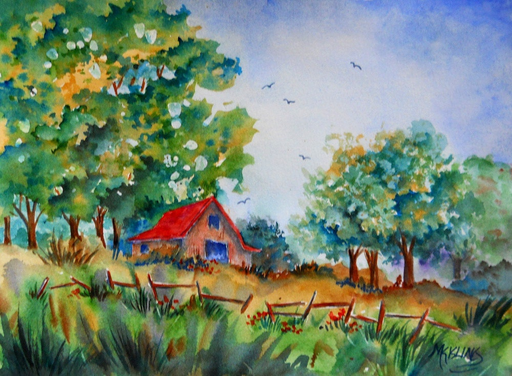 Watercolor Barn Country Barn Barn Art Trees Fence Field