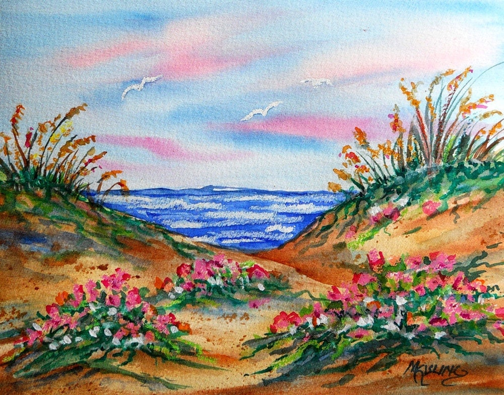 Watercolor And Pastel Painting Of Beach By Marthakislingart