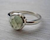 Prehnite ring rose cut prehnite ring pale green gemstone ring silver ring