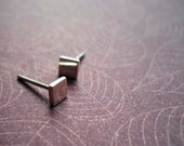 square silver studs - Free Shipping.