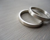 Wedding bands set wedding band wedding rings set mens ring unisex ring Matte - TWO rings